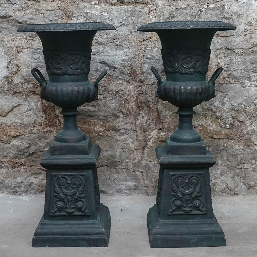 Metal Urn Planters on Pedestals