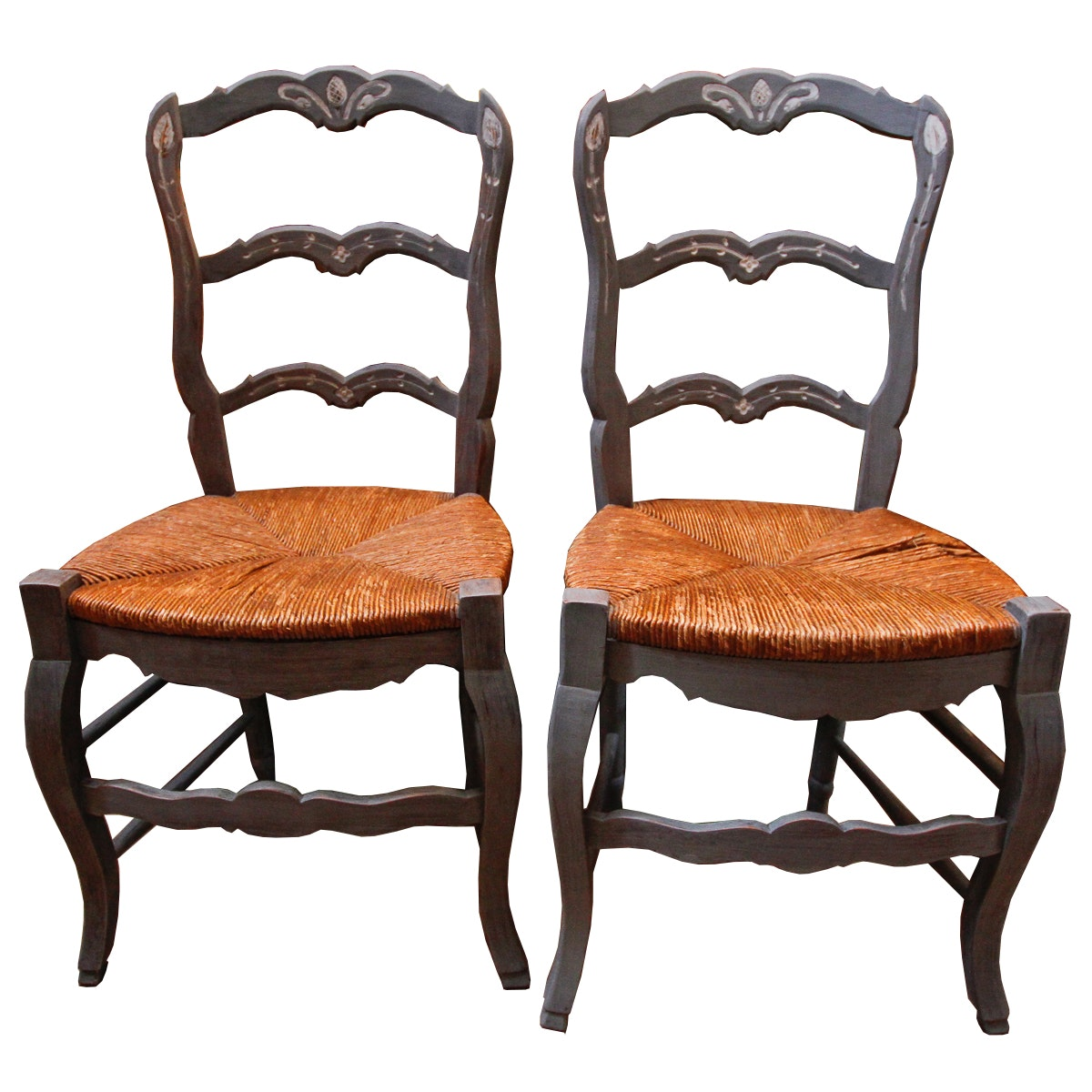Two Painted Rush Seat Side Chairs