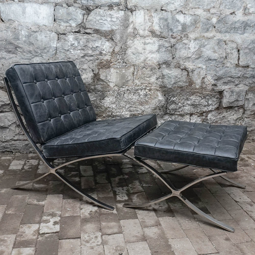 """Black Leather """"Barcelona"""" Style Chair with Ottoman"""