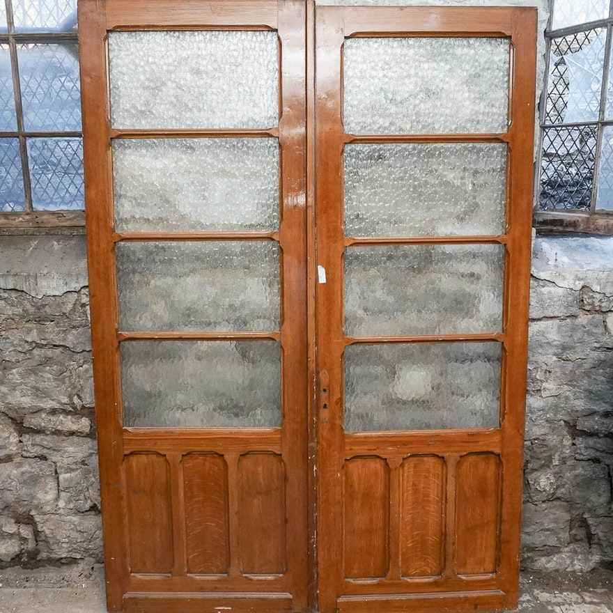 Pair of exterior textured glass french doors ebth for Exterior glass wall texture