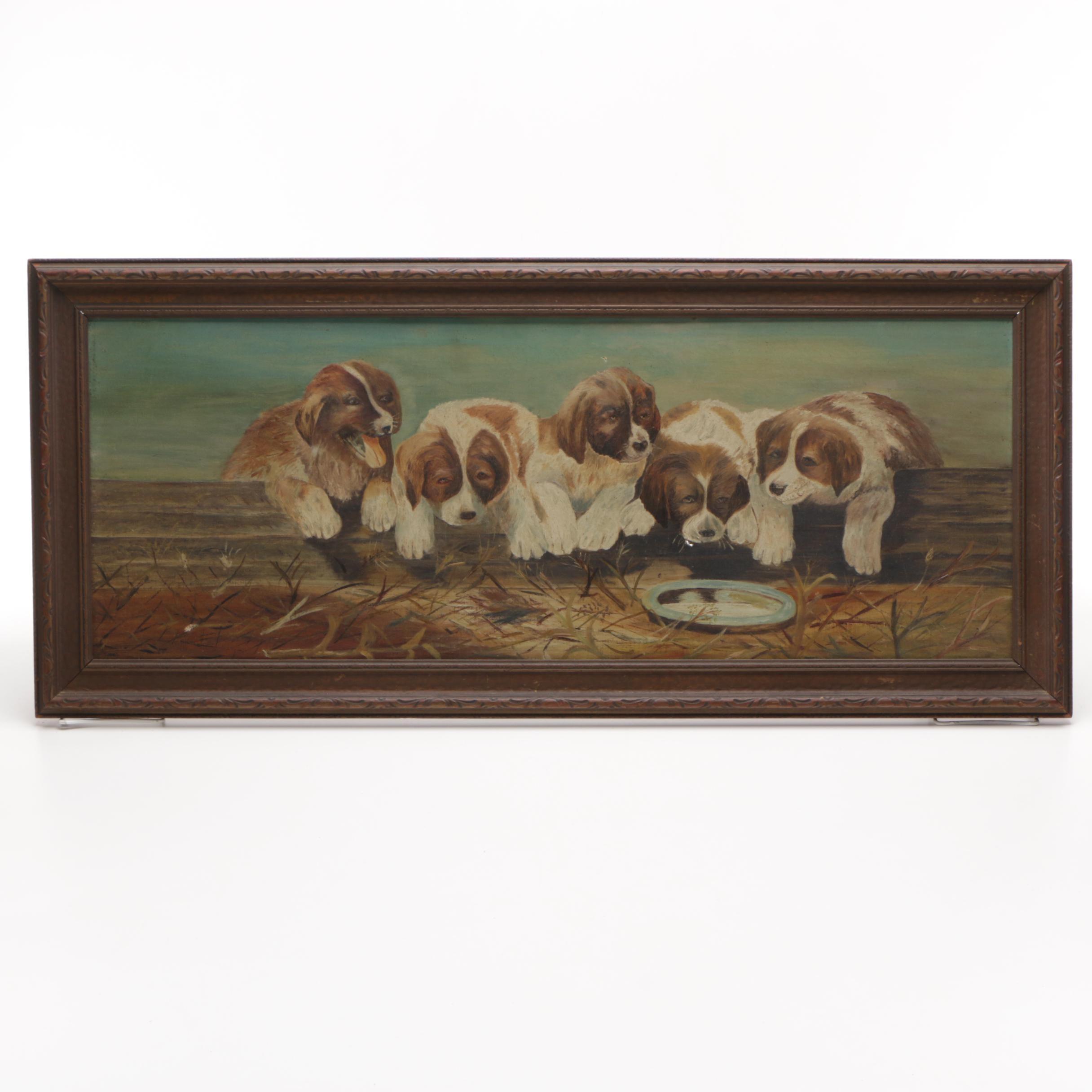 Antique Original Naïve Barnyard Genre Oil Painting on Canvas of Puppies