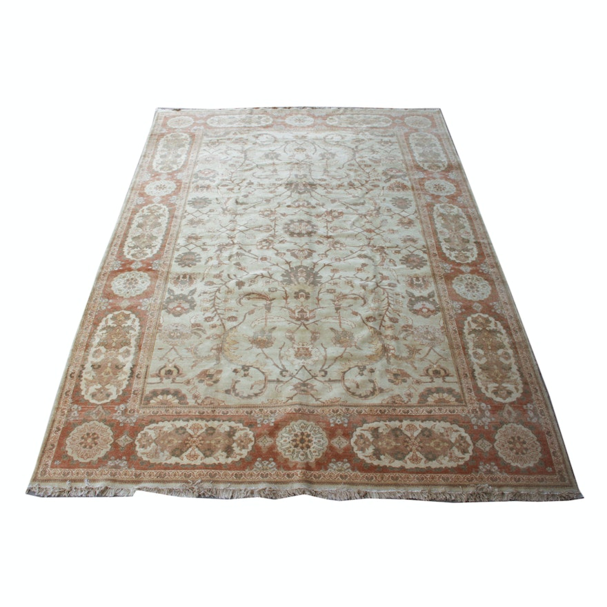 Hand Knotted Persian Wool Area Rug Ebth: Hand-Knotted Persian Mahal Area Rug
