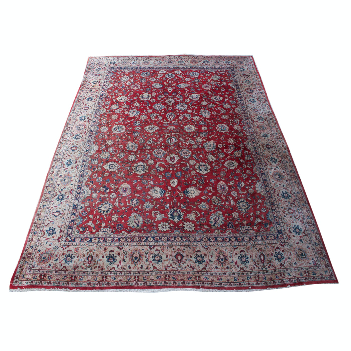 Antique Persian Hand-Knotted Sarouk Area Rug