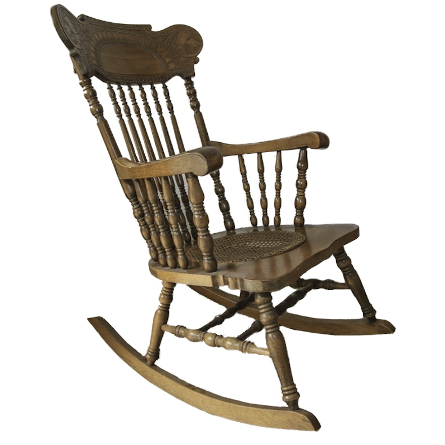 Wooden Vintage Rocking Chair by Lock 1776 Furniture Company ... - Wooden Vintage Rocking Chair By Lock 1776 Furniture Company : EBTH