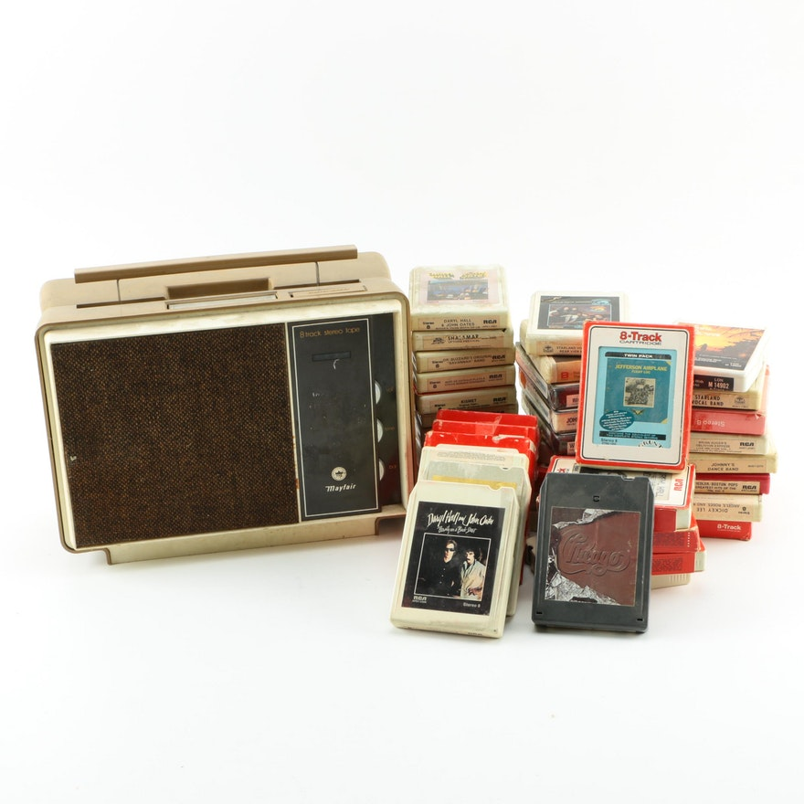 Vintage Mayfair 8 Track Player And Tape Collection
