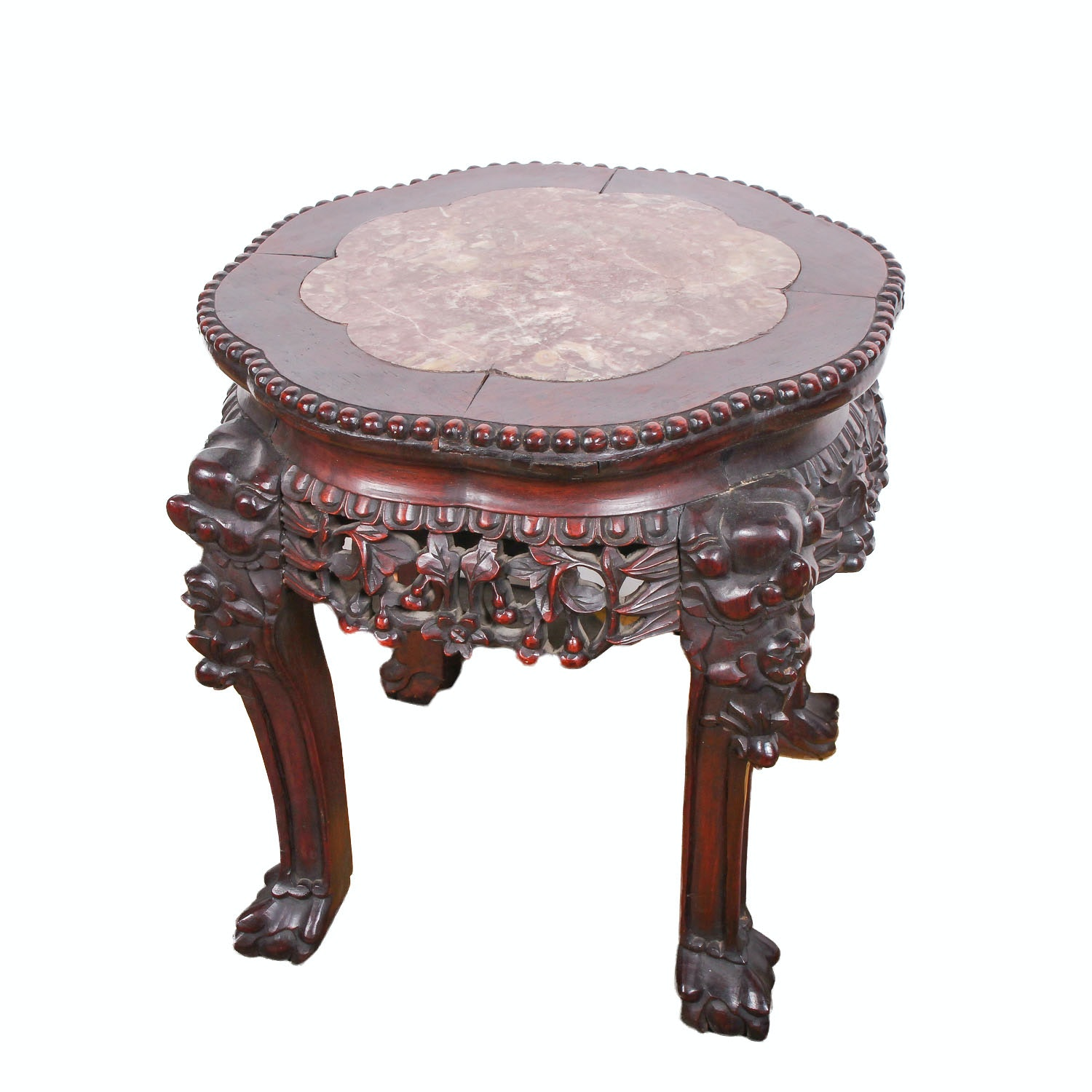 Vintage Chinese Inspired Carved Hardwood Stand with Marble Top