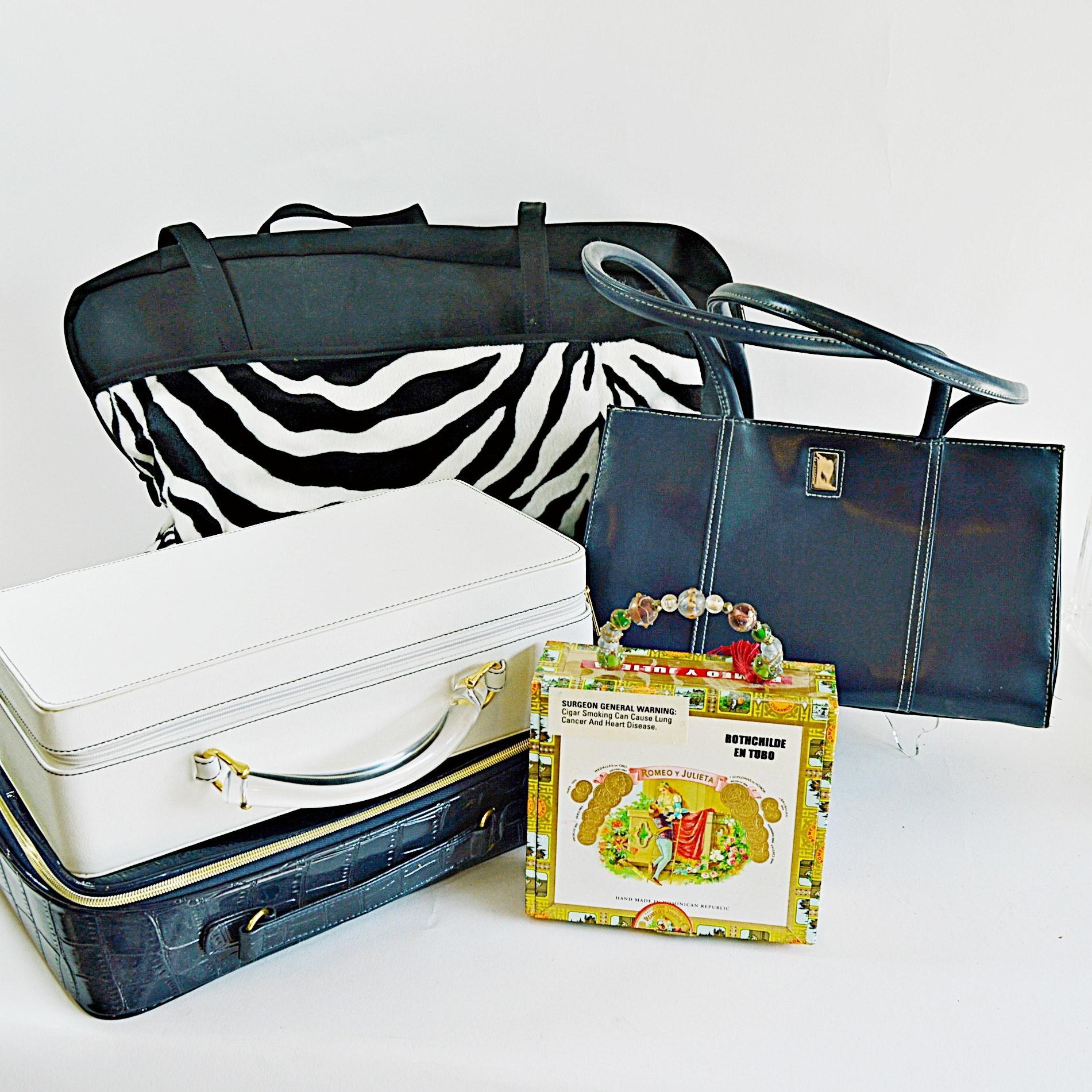 Six Bags Including a Handmade Vintage Cigar Box Purse