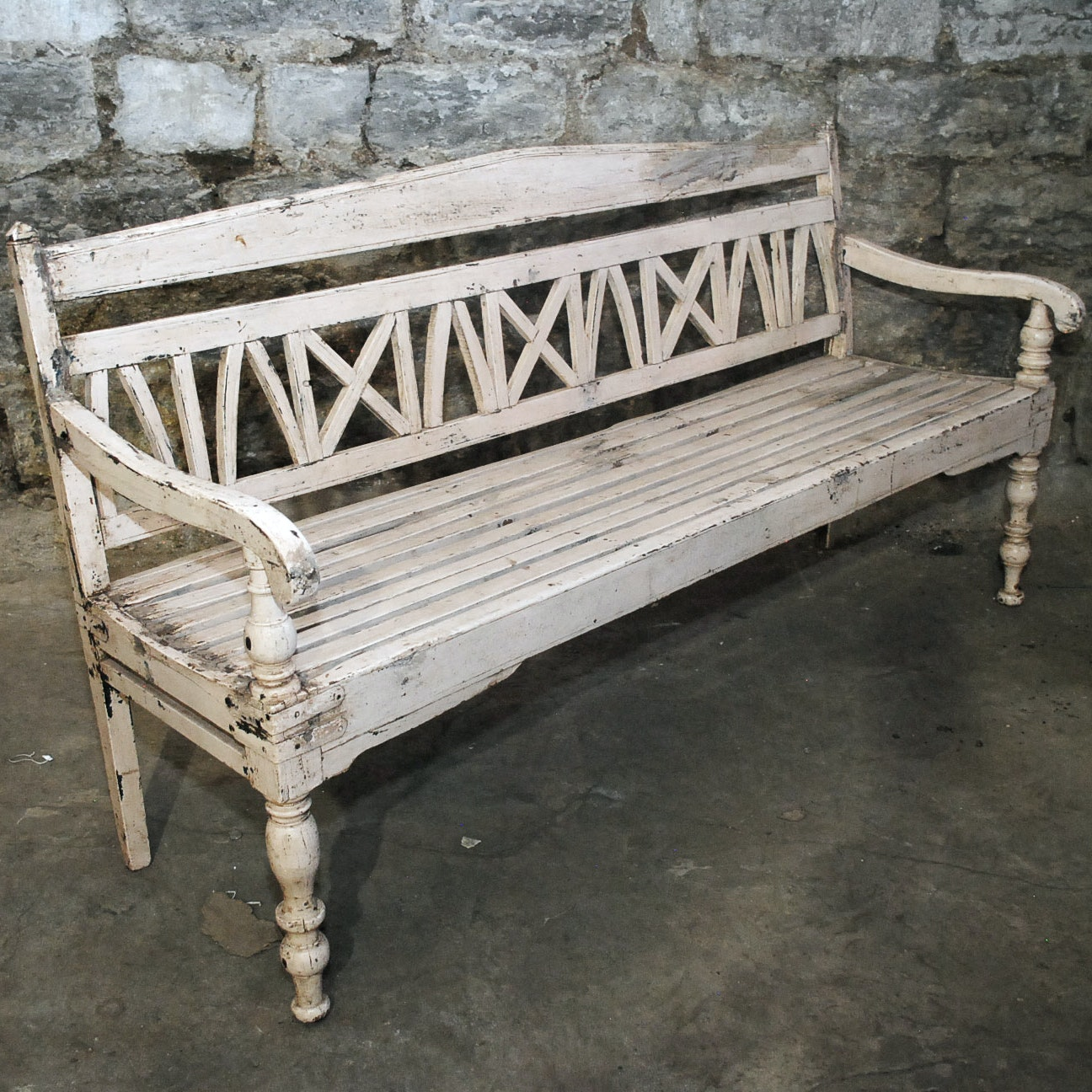 Distressed Vintage White Wooden Bench