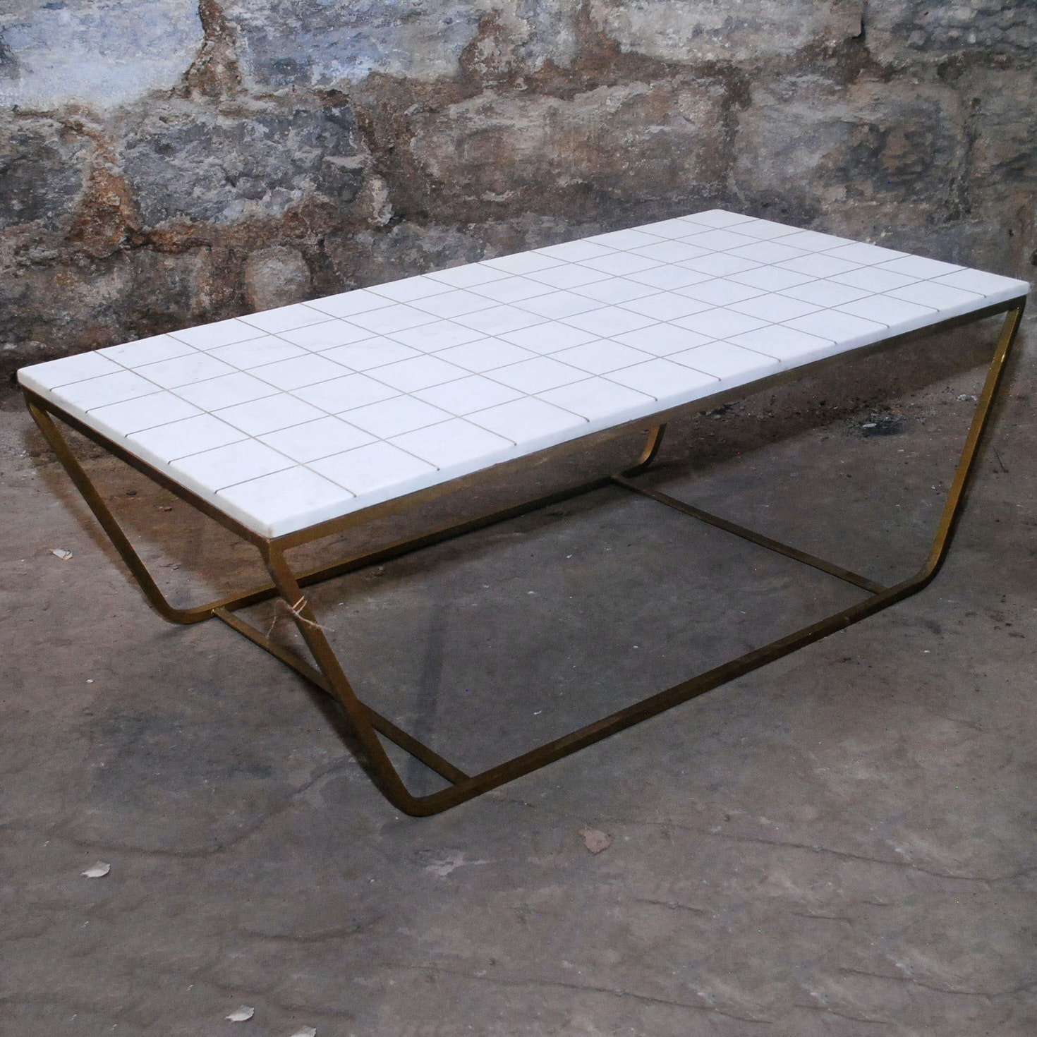 Contemporary Marble And Gold Toned Metal Coffee Table ...
