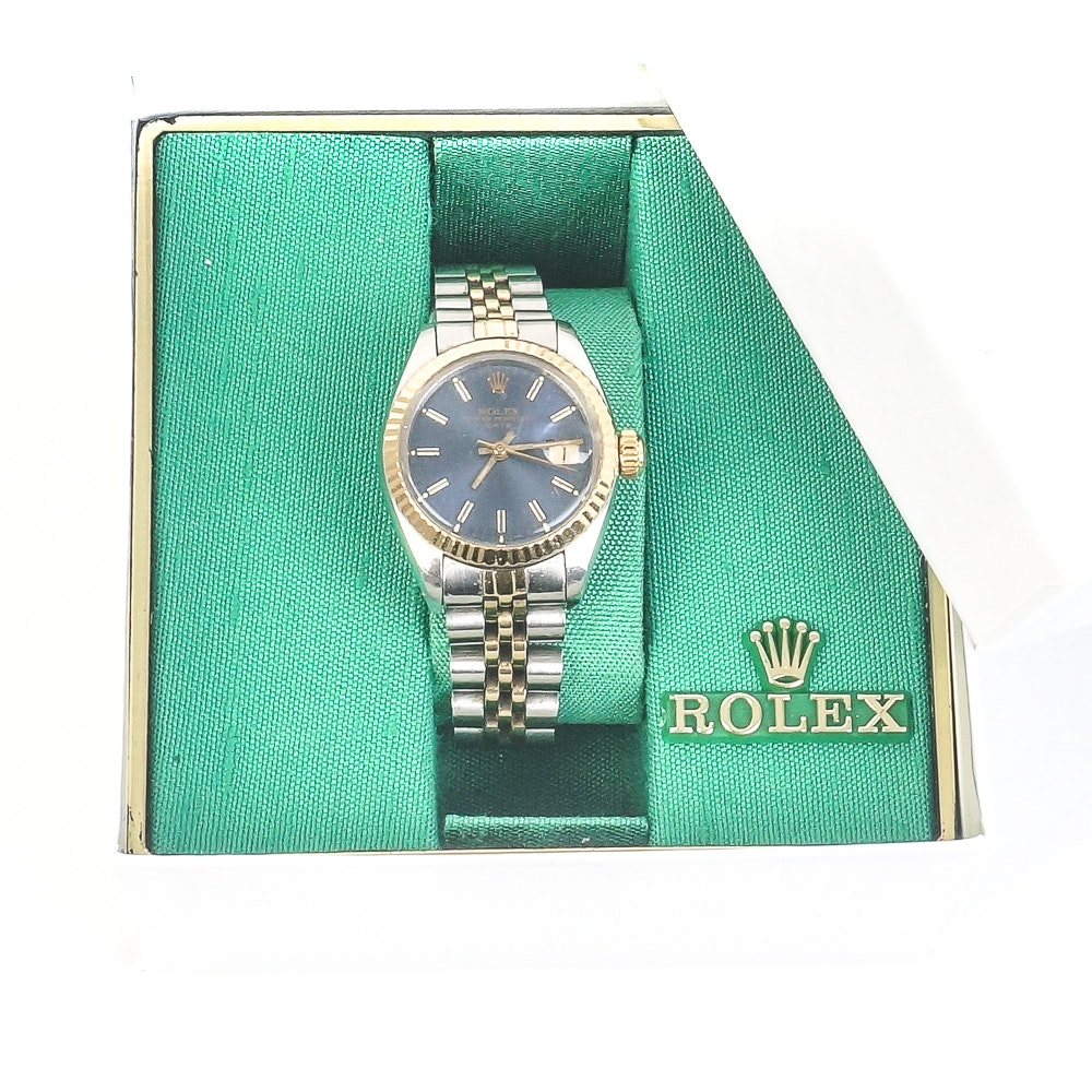 Vintage Rolex Oyster Perpetual Date 14K Yellow Gold and Steel Wristwatch