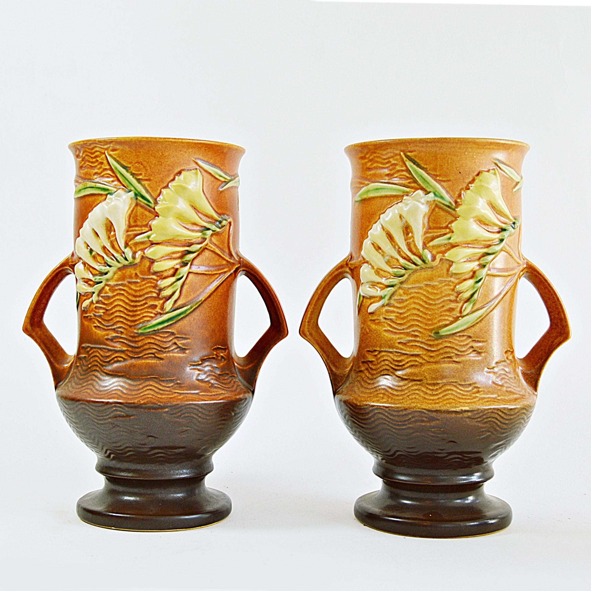 """Pair of Roseville Pottery """"Freesia"""" Vases"""
