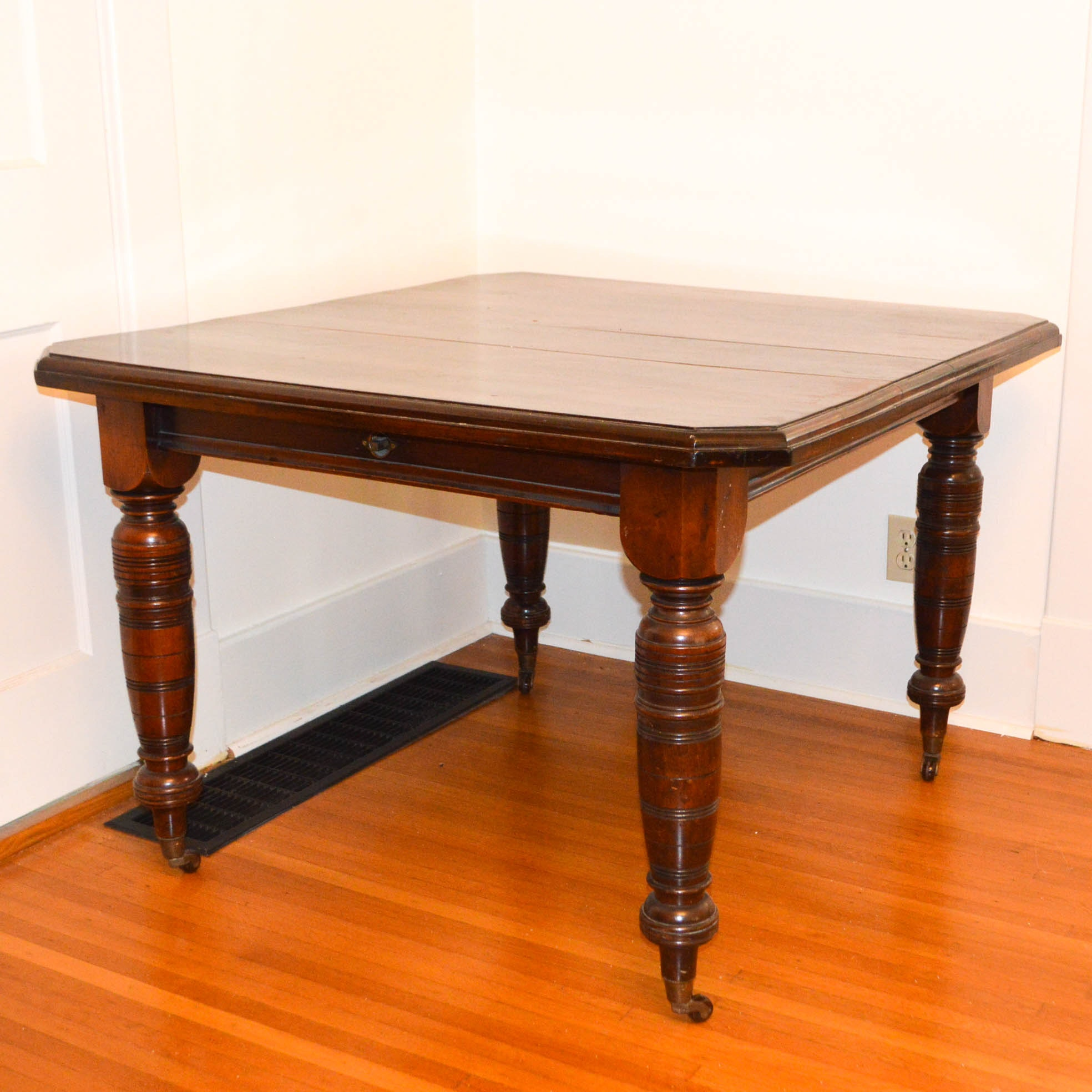 antique walnut dining table with crank extension : ebth