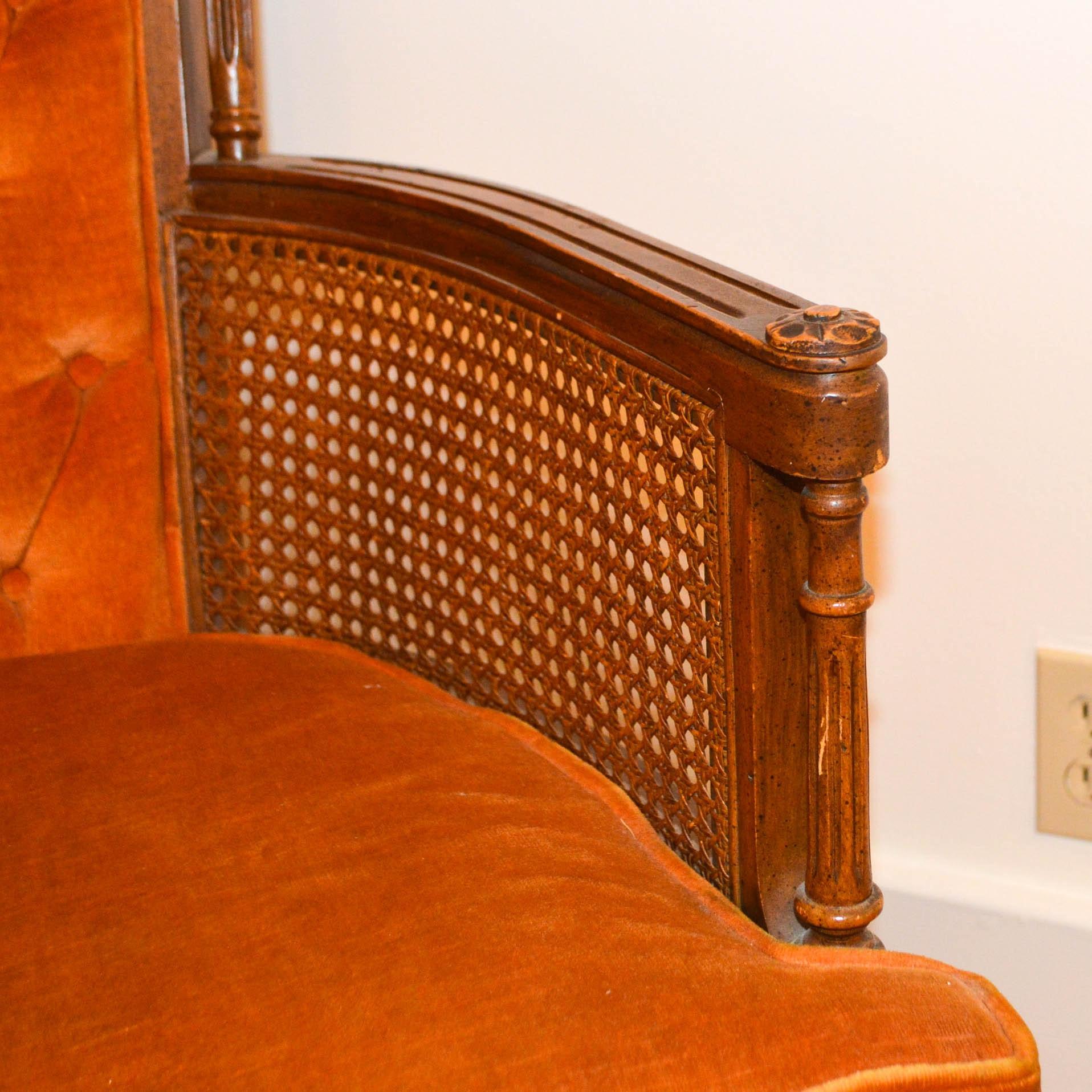 Vintage Button Tufted Armchair In The Louis Xvi Taste Ebth