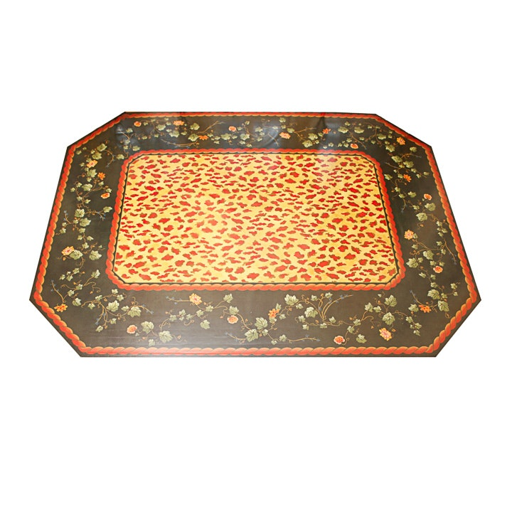 Room-Size Floral Floor Cloth Style Rug