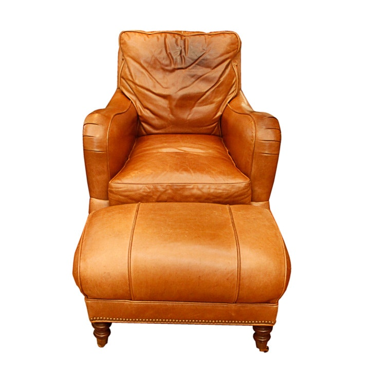 WHL Collection Leather Armchair and Ottoman
