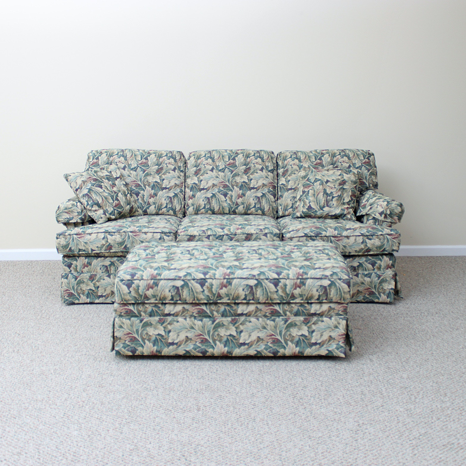 Flexsteel Sofa And Storage Ottoman In Leaf Patterned Upholstery ...