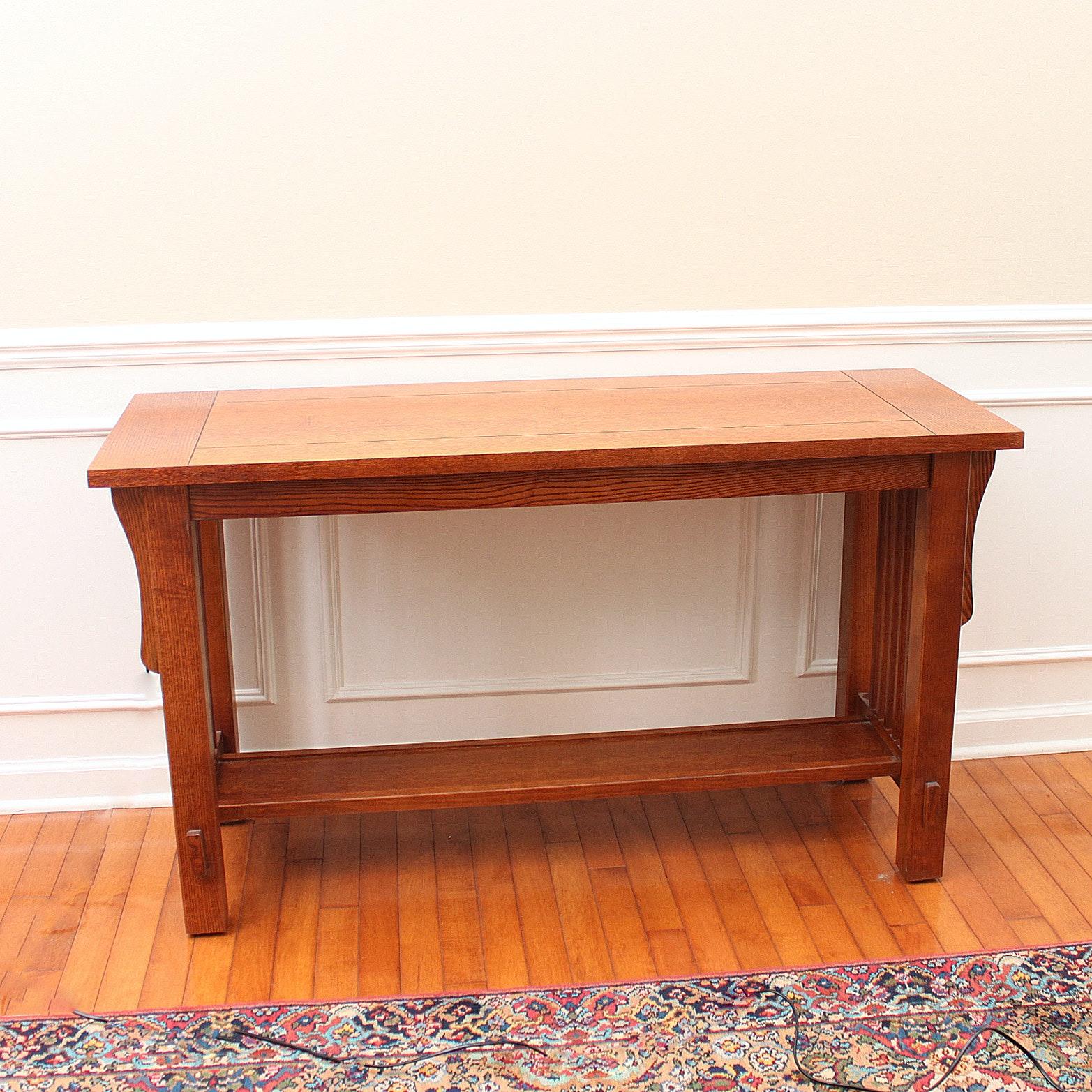 Bassett Furniture Mission Style Oak Console Table ...