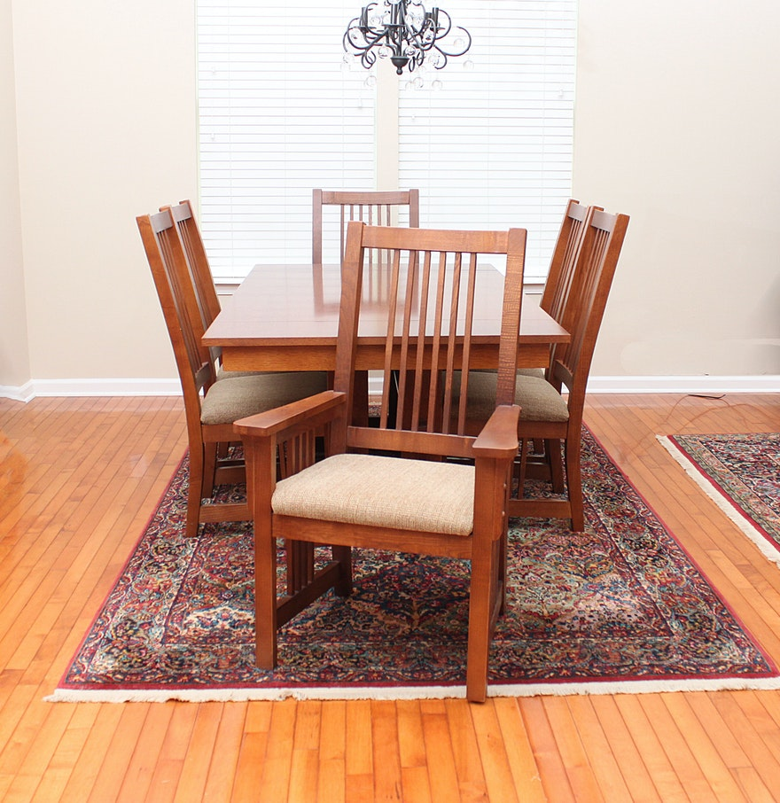 Bassett Furniture Mission Style Oak Dining Table And