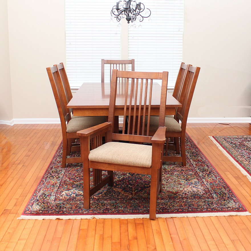 Bassett Furniture Mission Style Oak Dining Table And Chairs Ebth
