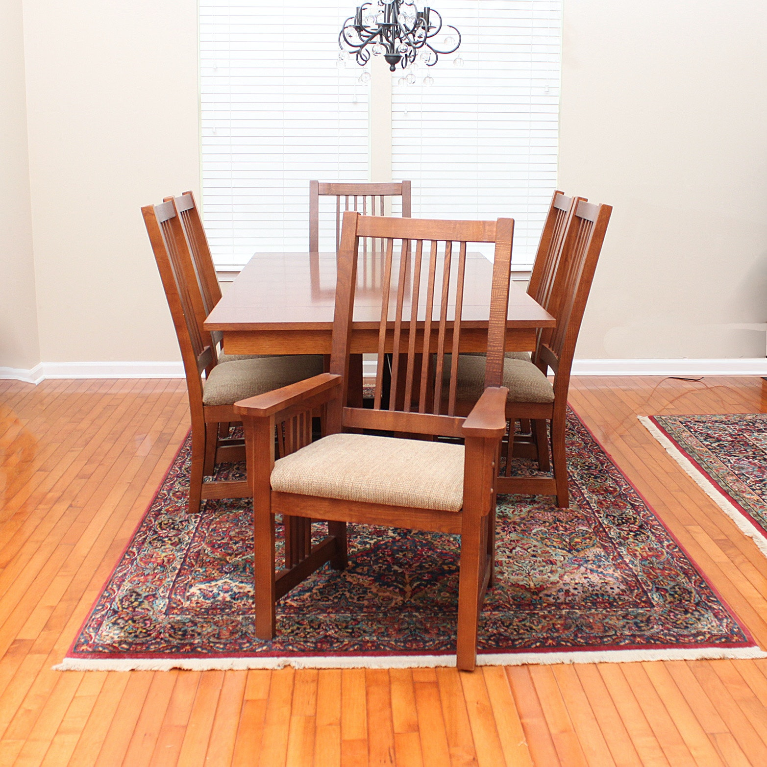 bassett furniture mission style oak dining table and chairs