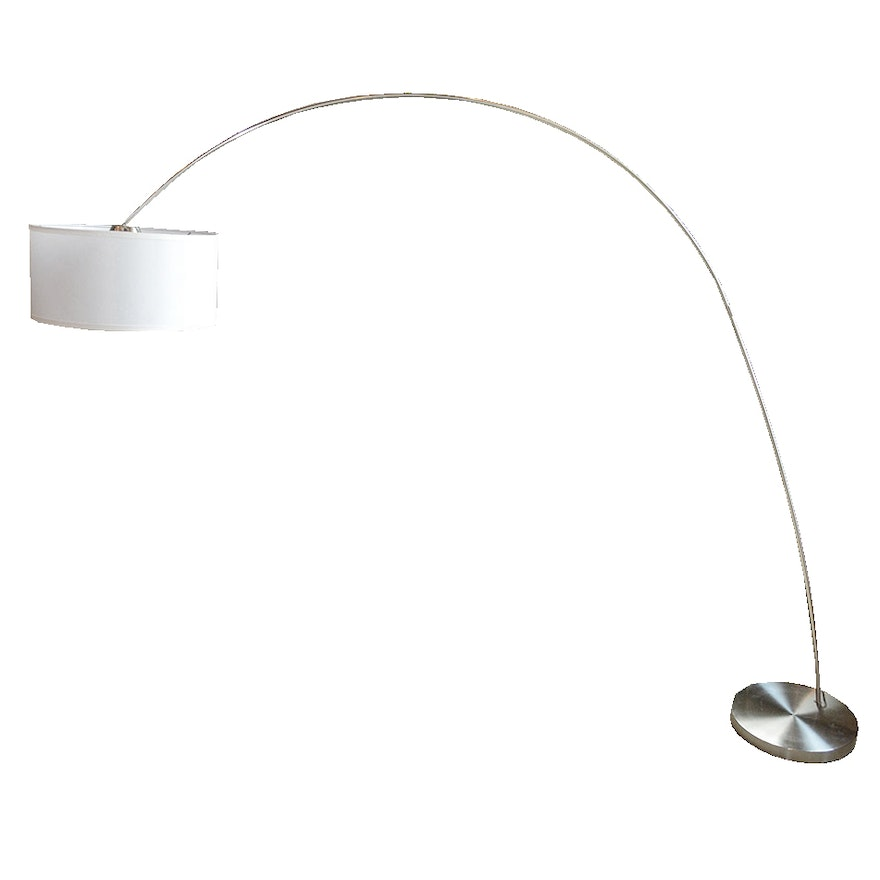 Contemporary modern arched metal floor lamp ebth for Modern 3 light chrome metal arch floor lamp