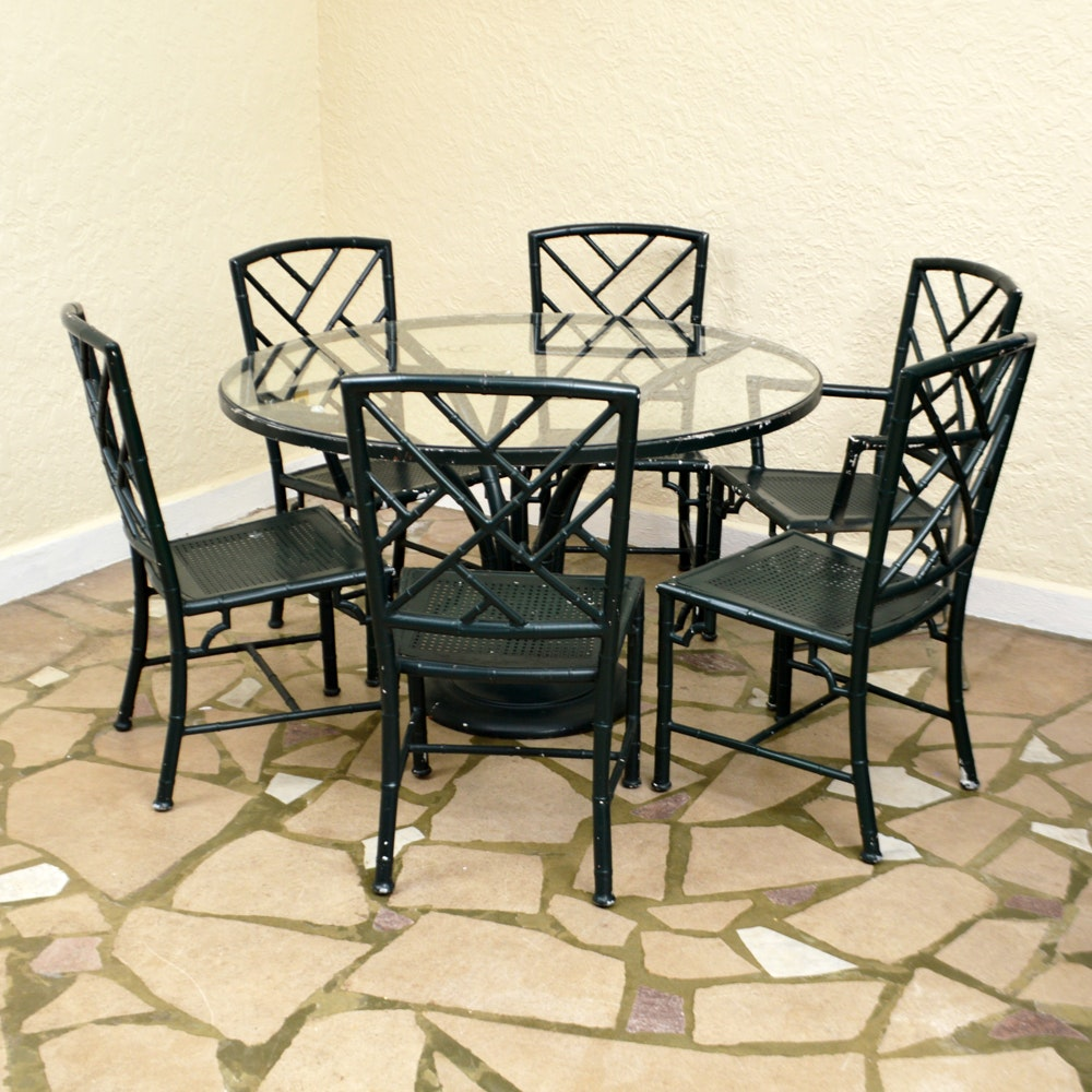 Hollywood Regency Style Faux Bamboo Chairs and Glass Top Table