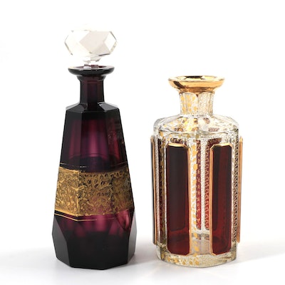 Two Antique Czechoslovakian Cologne Bottle Attributed to Moser