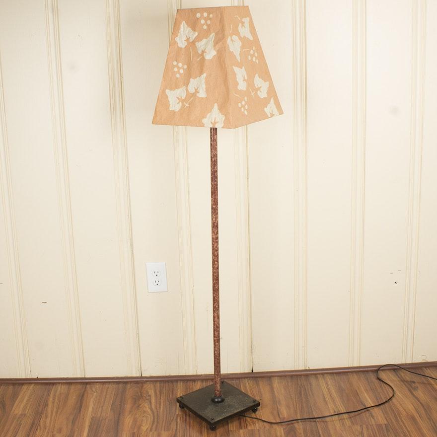 Floor lamp with paper mache lampshade ebth floor lamp with paper mache lampshade aloadofball Gallery