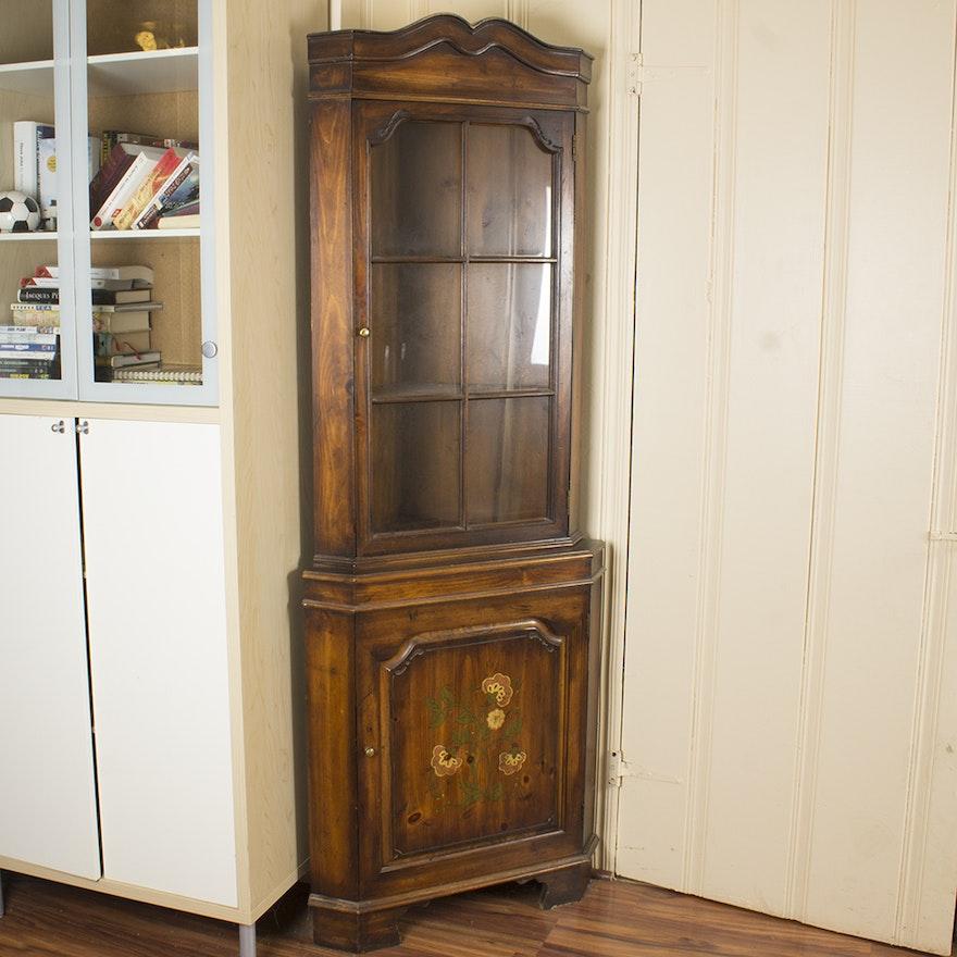 Astonishing Vintage Dark Stained Pine Corner Cupboard Download Free Architecture Designs Griteanizatbritishbridgeorg