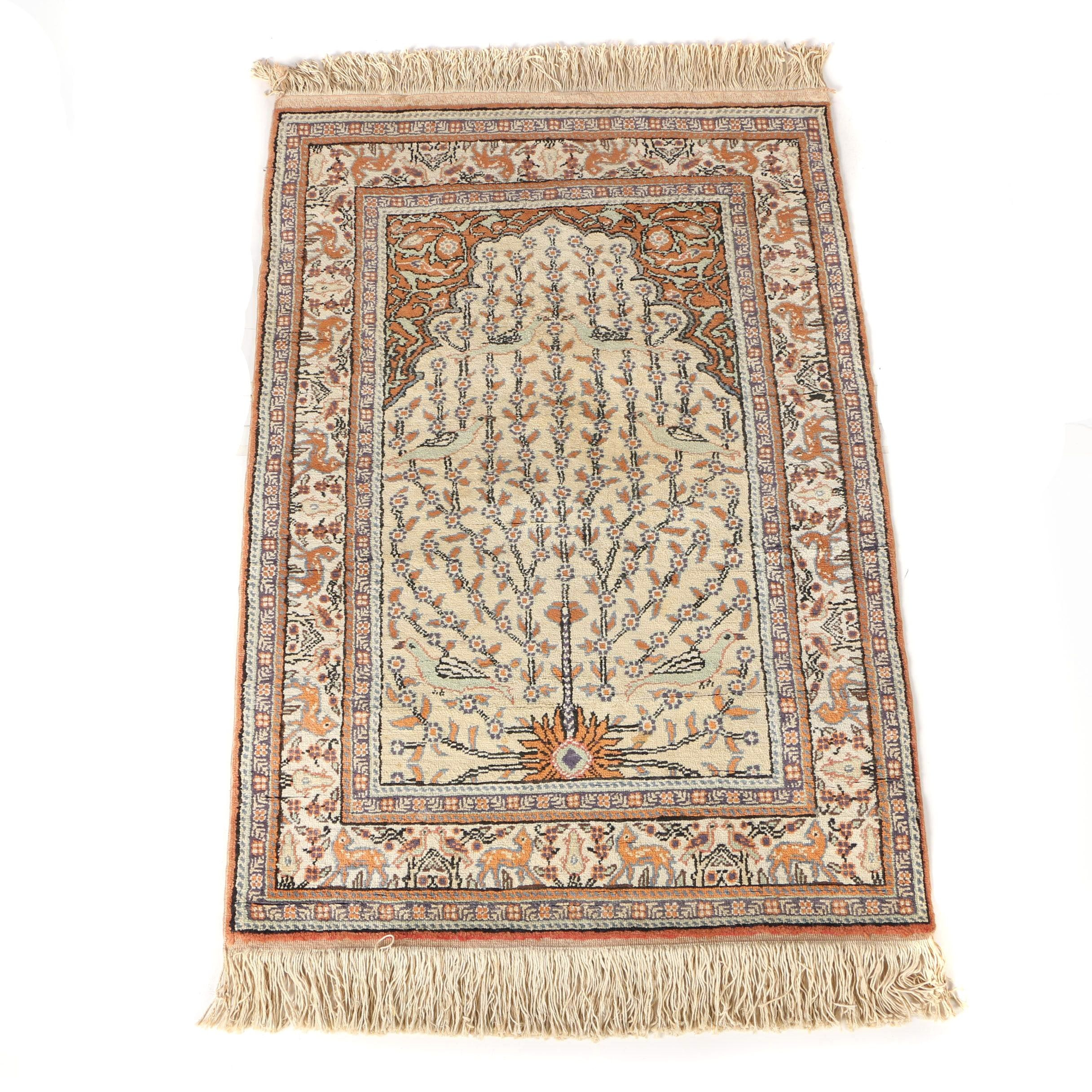 Hand-Knotted Turkish Pictorial Prayer Rug