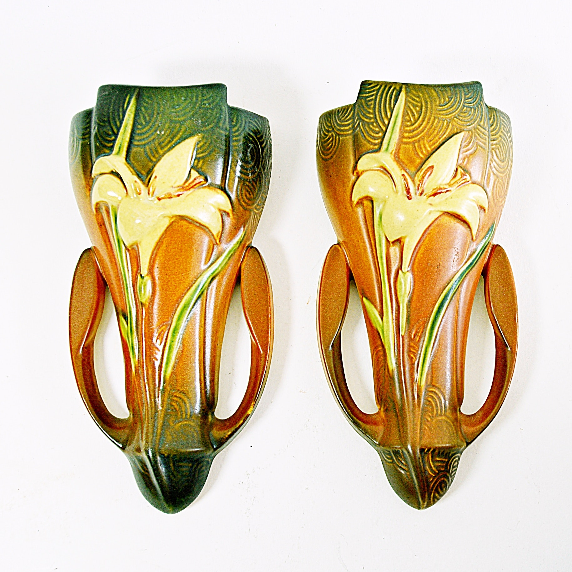 """Roseville Pottery """"Zephyr Lily"""" Wall Vases"""