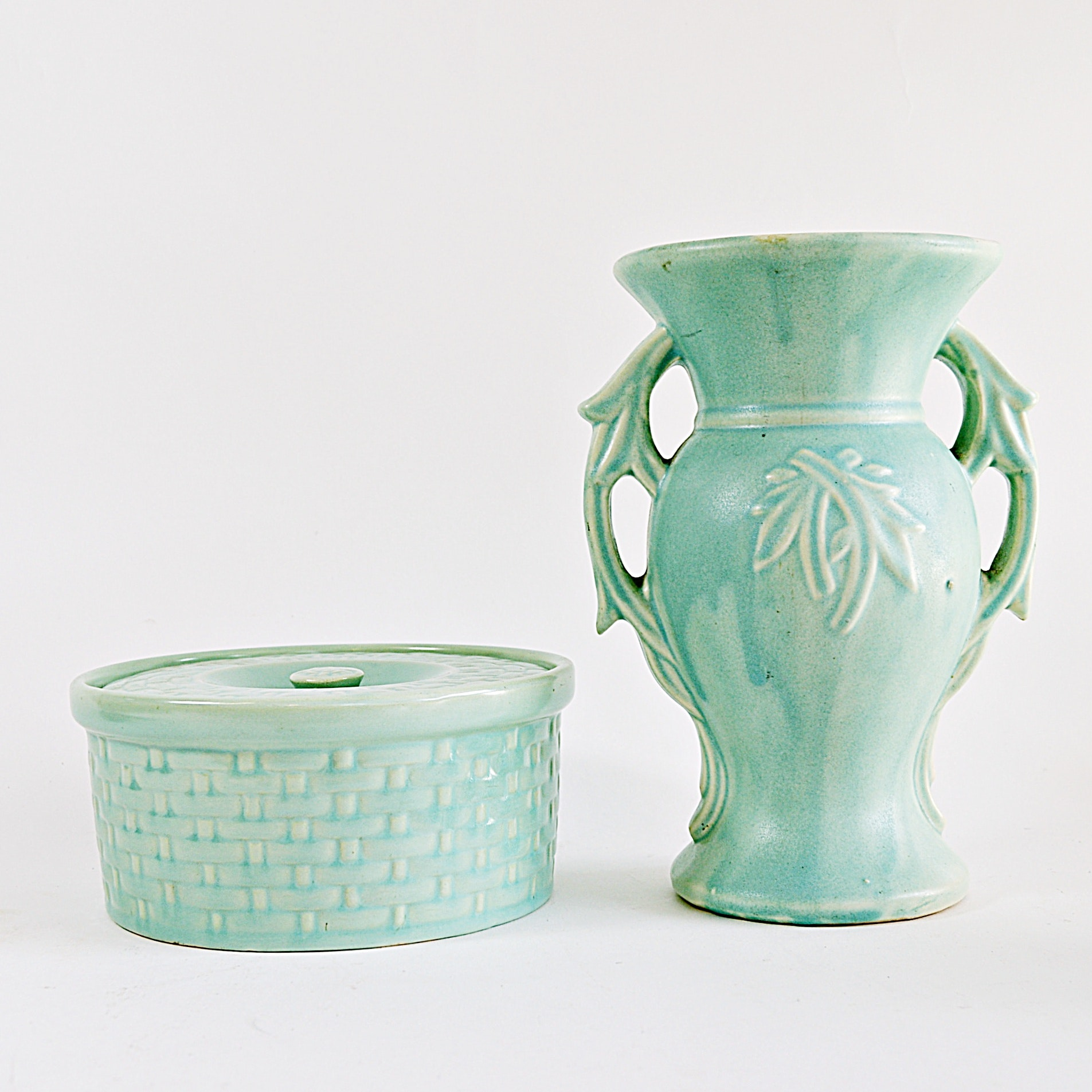Weller Pottery Lidded Round Box and McCoy Pottery Vase