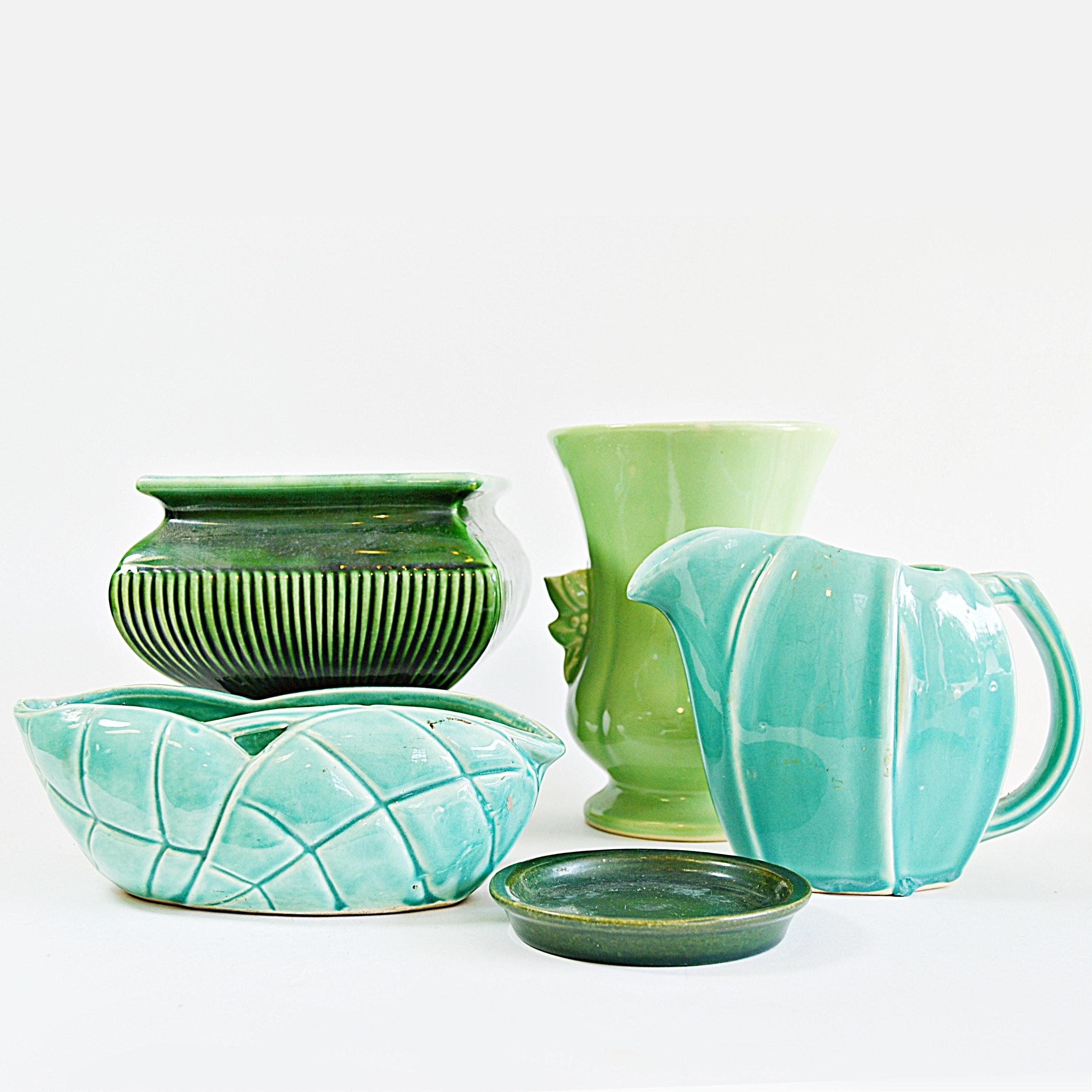 Vintage McCoy and Roseville Pottery