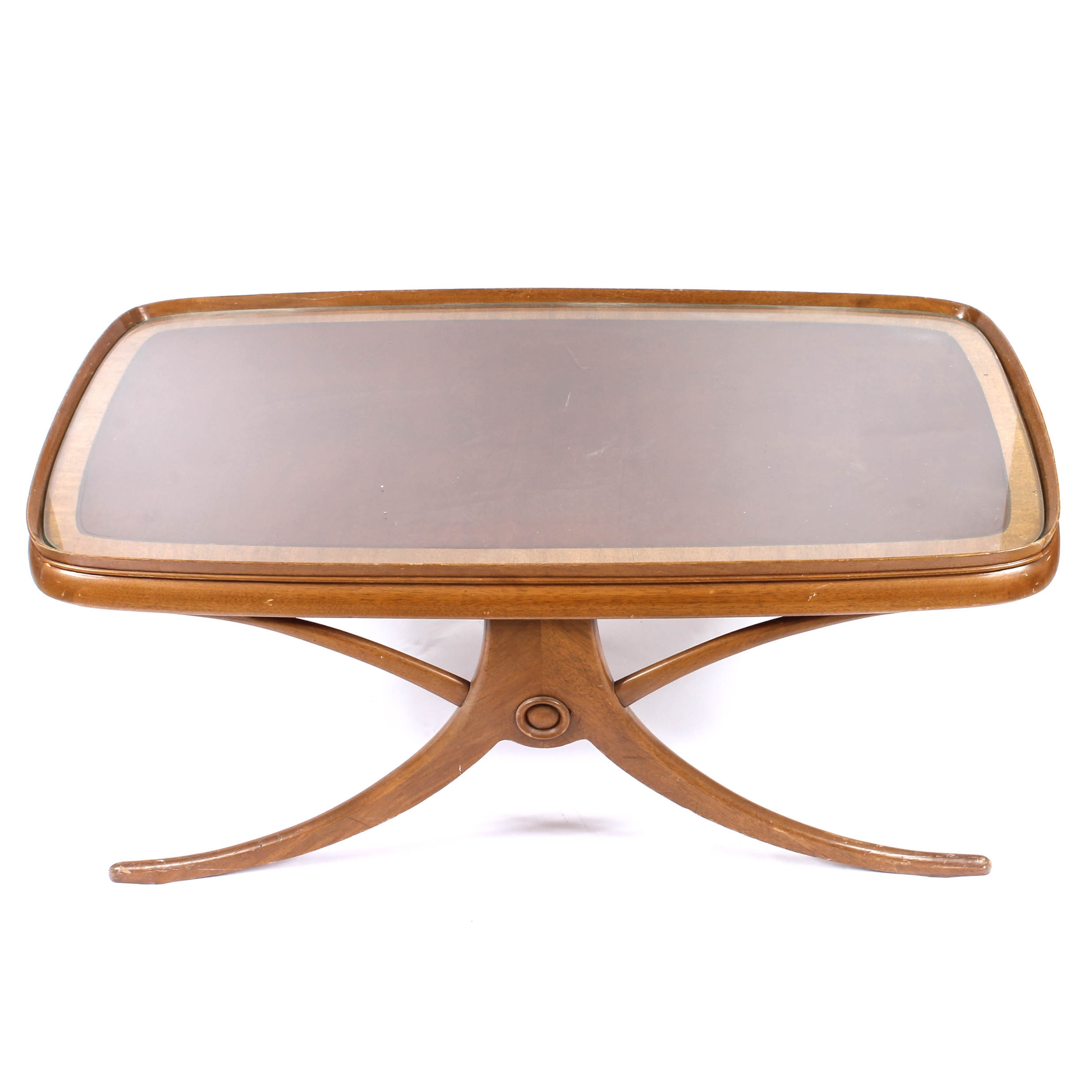 Wooden Glass Top Coffee Table by Weiman