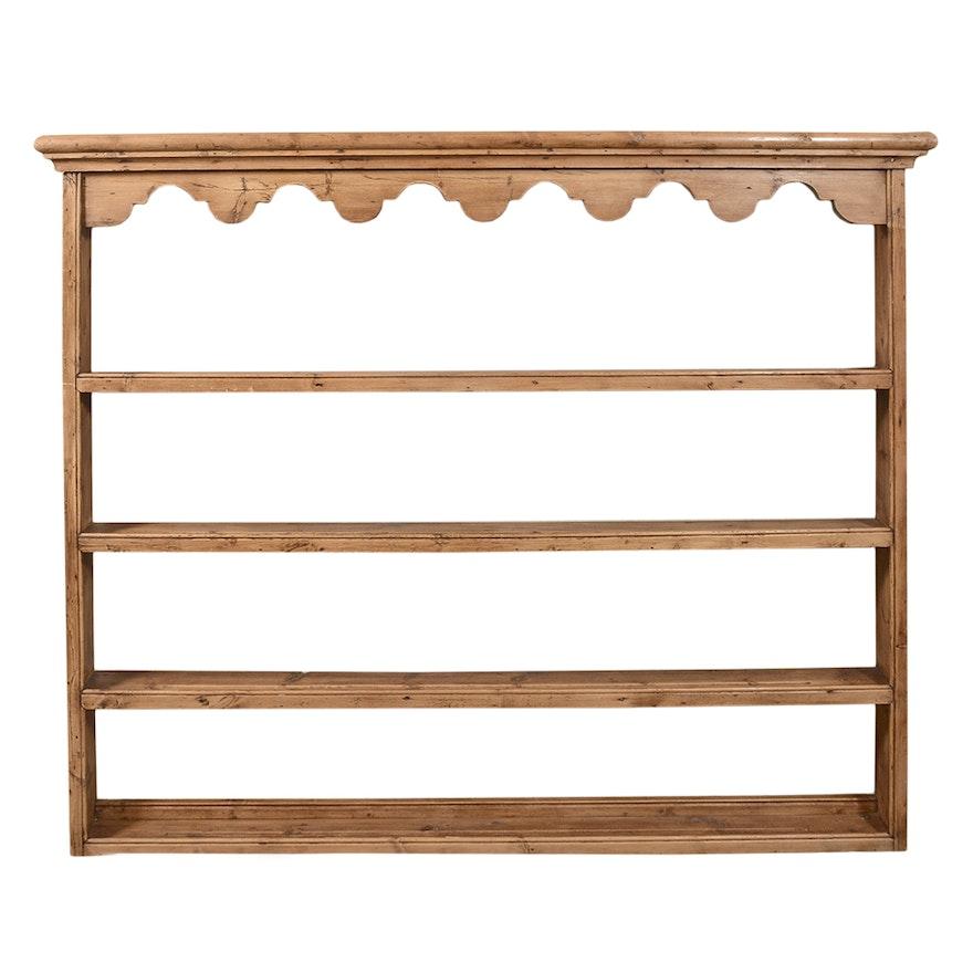 antique wall mount pine plate rack ebth. Black Bedroom Furniture Sets. Home Design Ideas