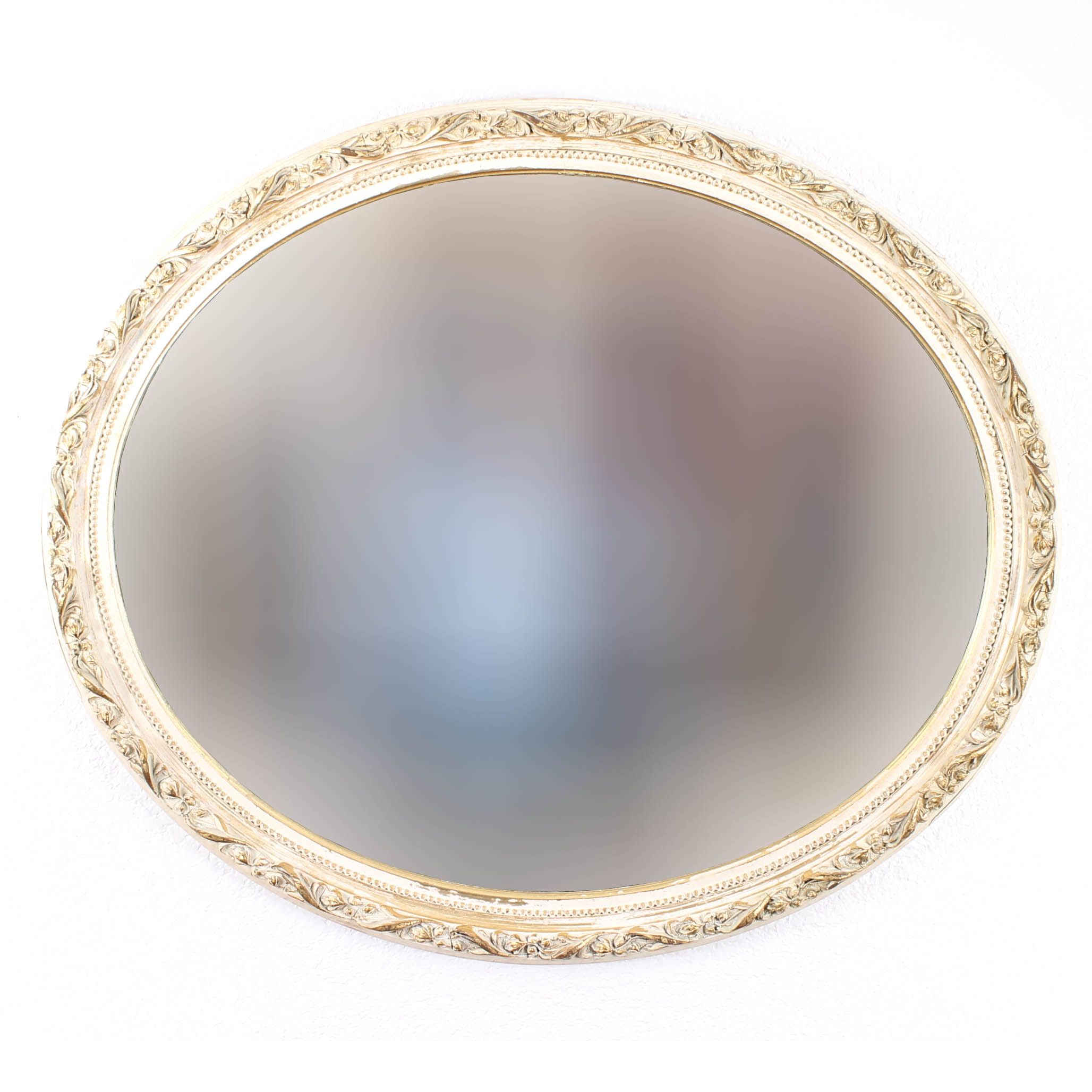 Vintage Oval Wooden Wall Mirror