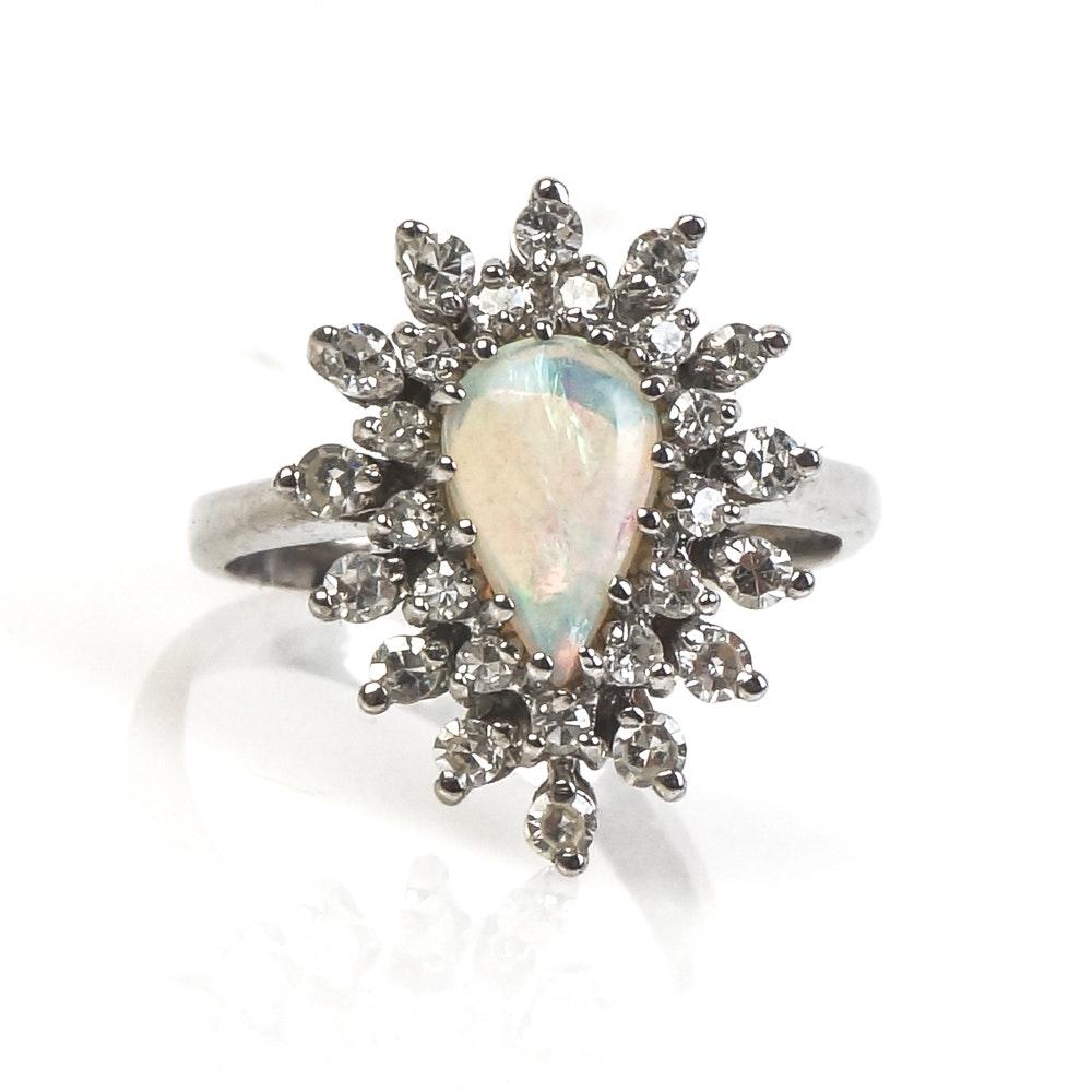14K White Gold, Opal, and Diamond Starburst Ring