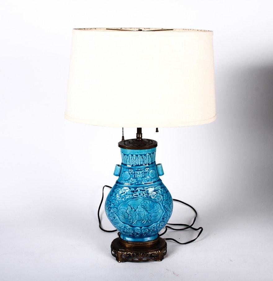 Vintage chinese ceramic table lamp ebth vintage chinese ceramic table lamp geotapseo Images