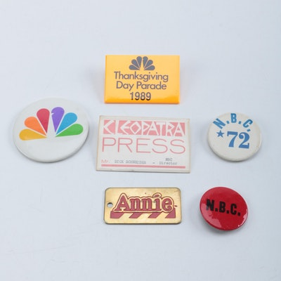 NBC Television, Press and Annie Badges and Pins from Dick Schneider