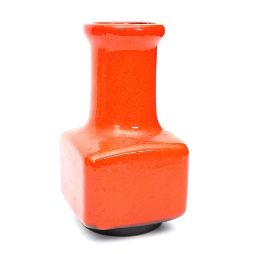 Mid Century Modern West German Vermillion Vase