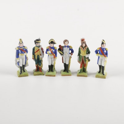 1970s Dresden Miniature Porcelain French Commander Figurines