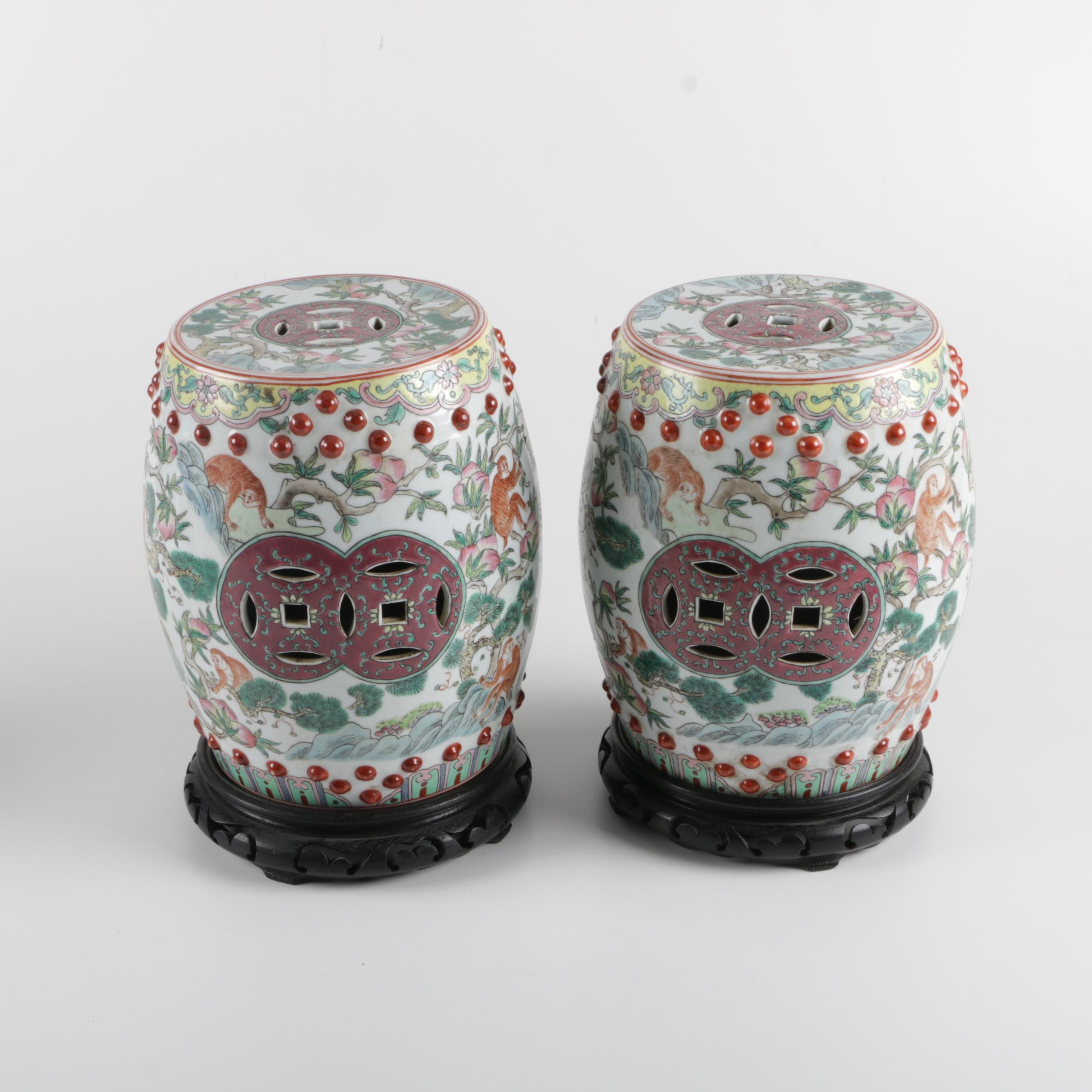 Diminutive Chinese Garden Stools with Wood Pedestal