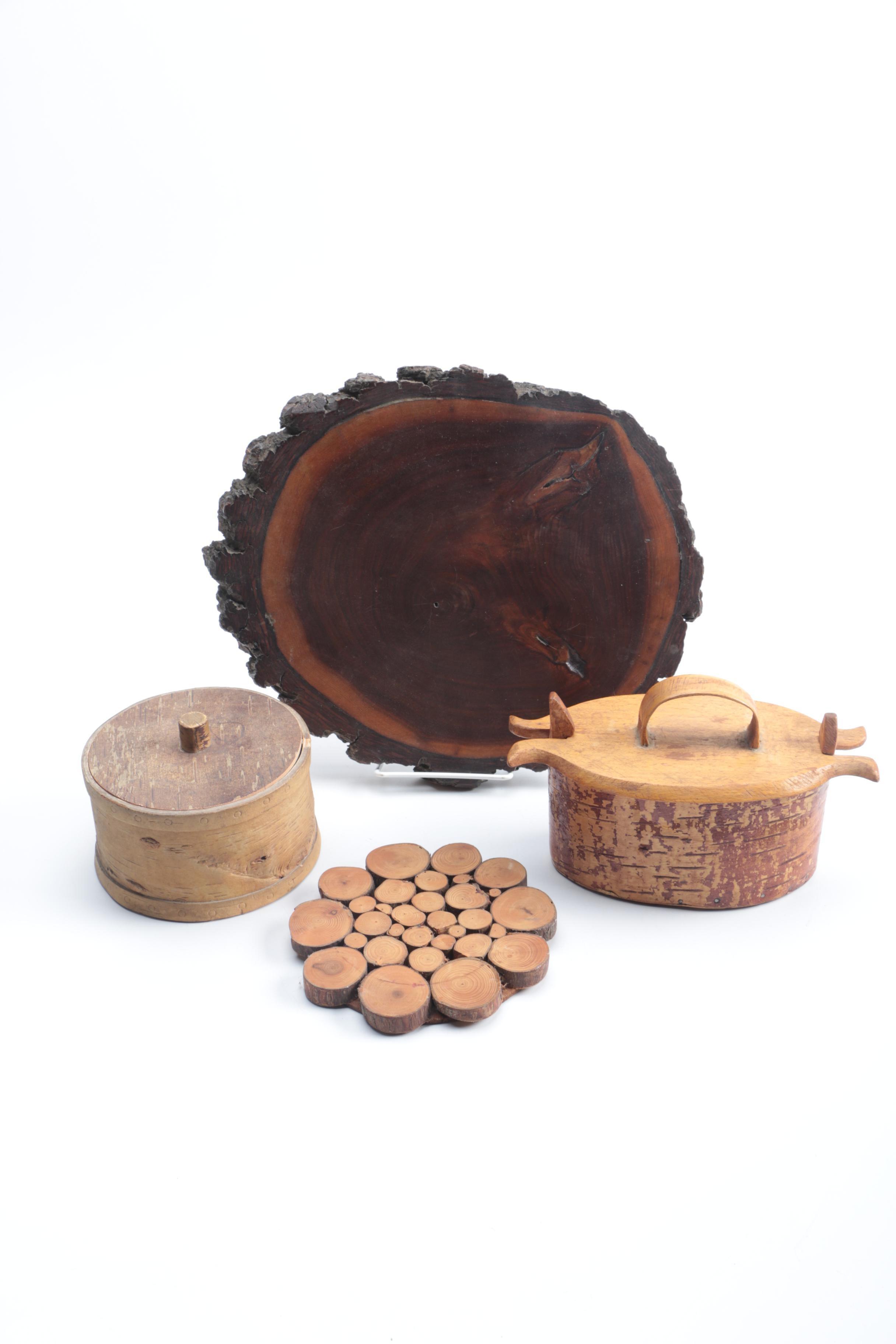 Assortment of Wooden Home Decor