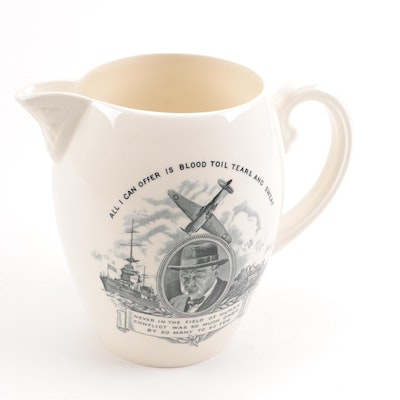 Vintage Copeland Spode Britain WWII Themed Porcelain Pitcher