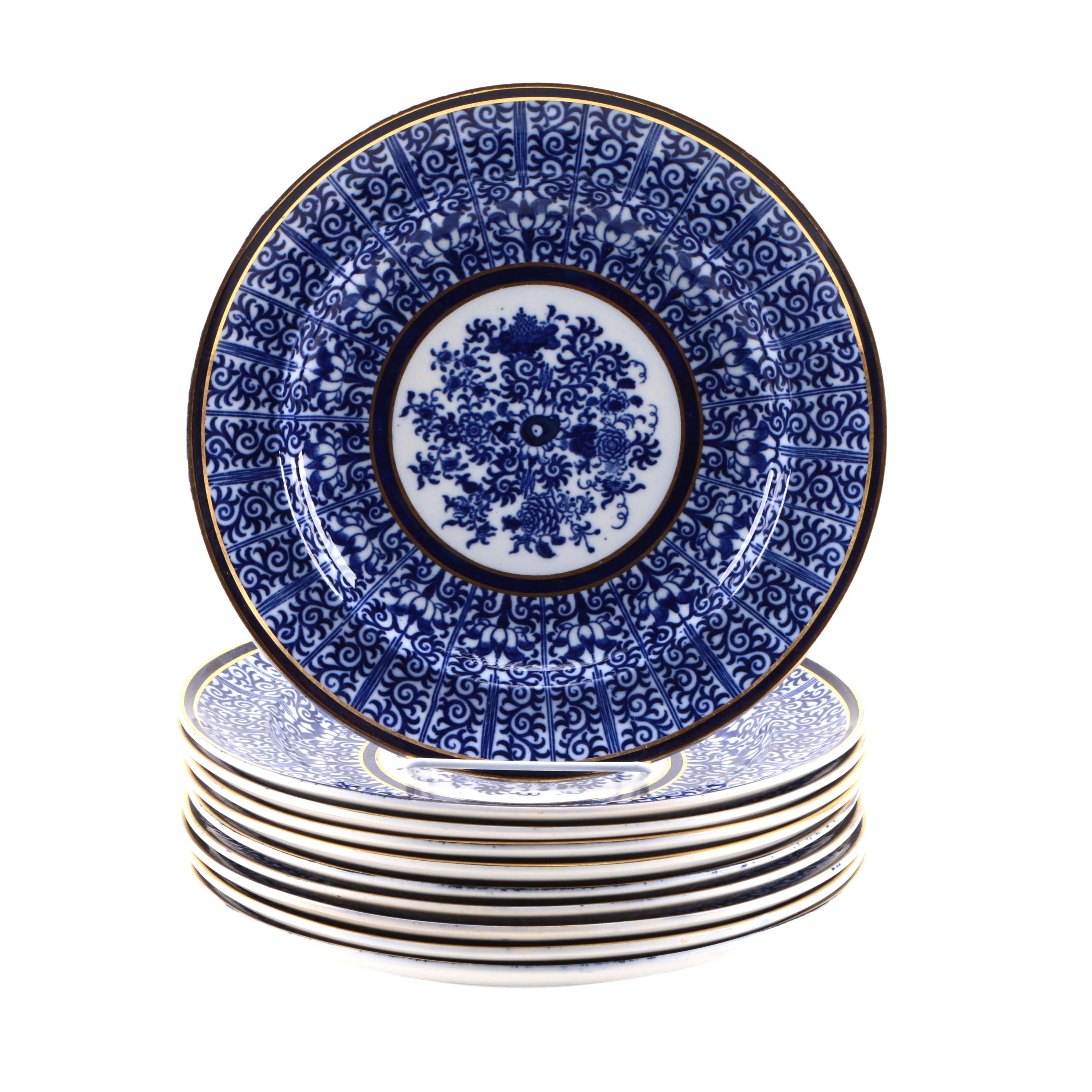 Antique Minton Blue Transfer Printed Plates Circa 1879
