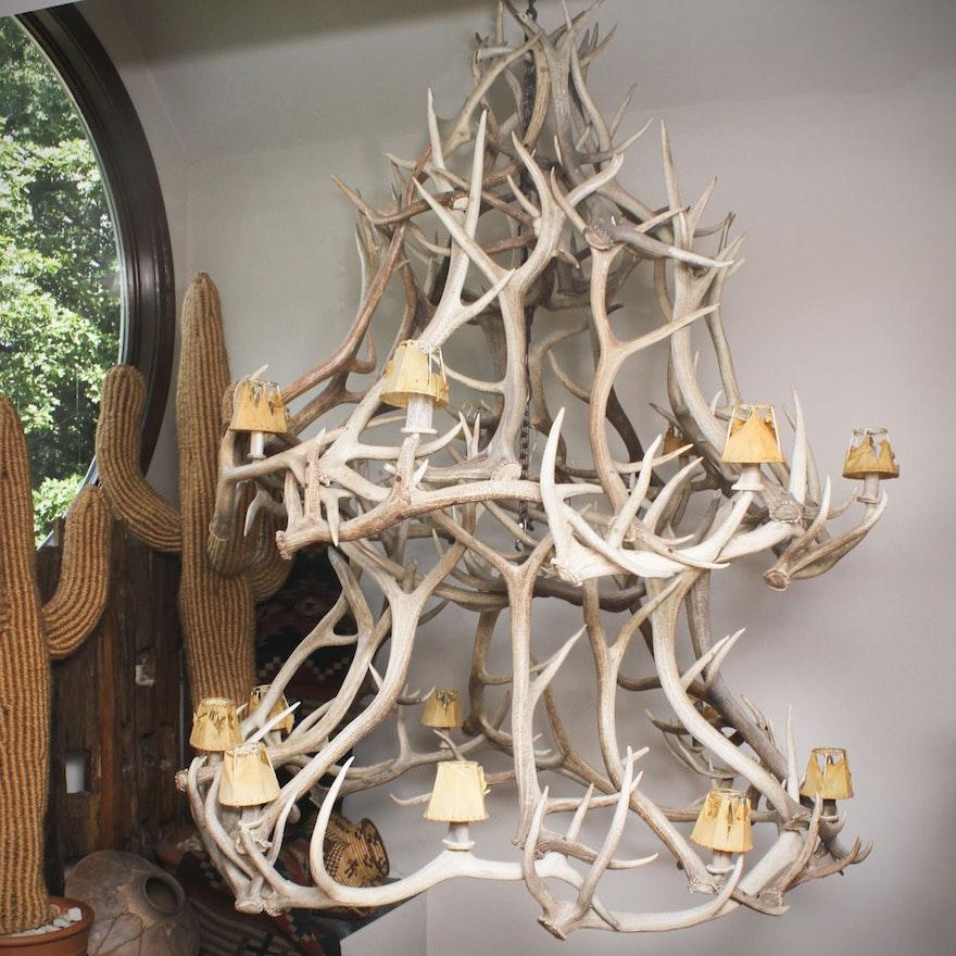 Large elk horn chandelier ebth large elk horn chandelier aloadofball Images