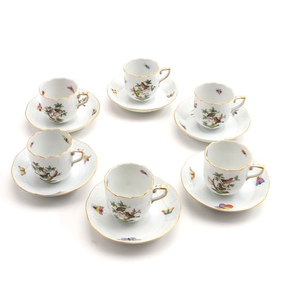 "Herend Hand Painted ""Rothschild Bird""  Demitasse Cups"