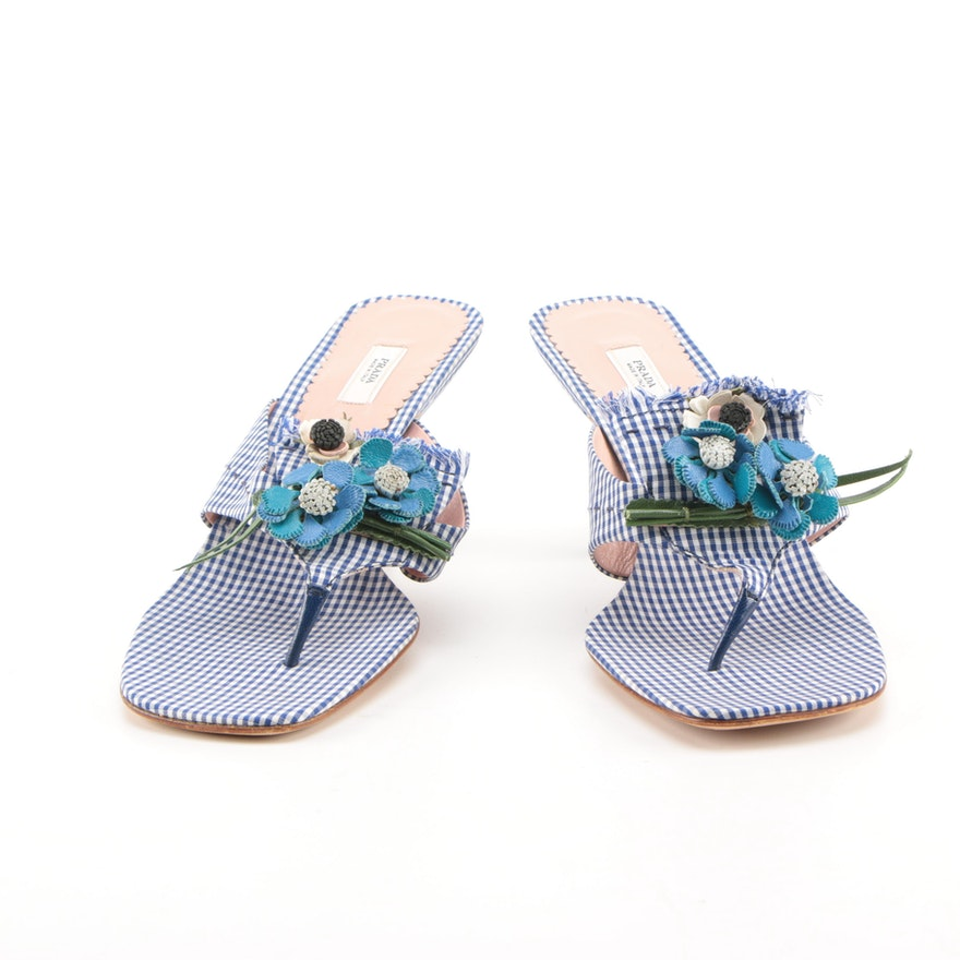 Prada Blue Gingham Kitten Heels With Floral Accents   EBTH e9c1d1df4