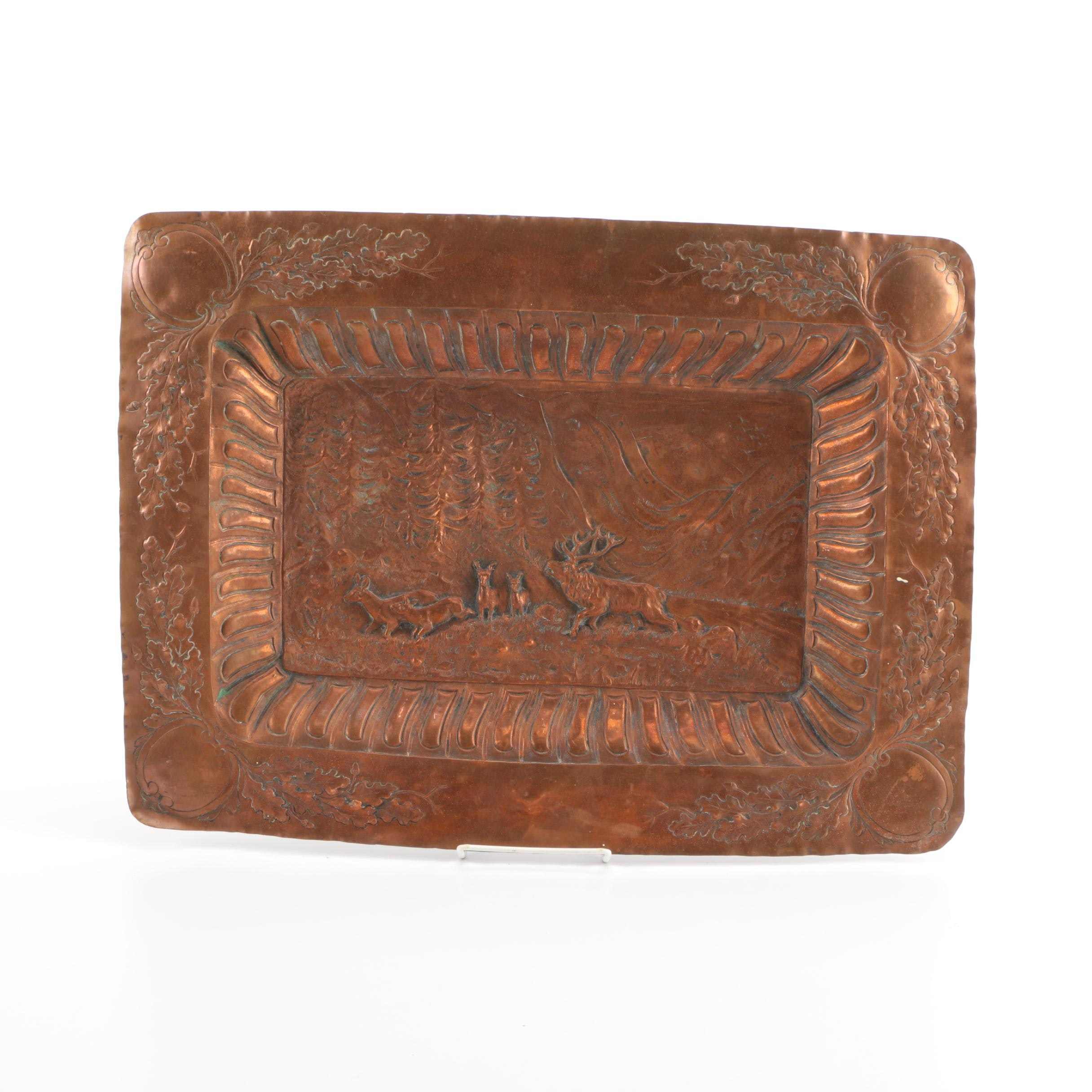 Copper Tray with Hammered Woodland Scene