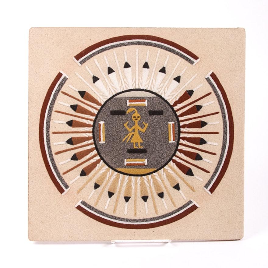 Signed Native American Navajo Sand Art Panel Sun And Eagle Ebth